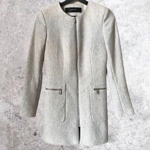 ZARA BASIC Blazer Jacket Silver Zipper XS